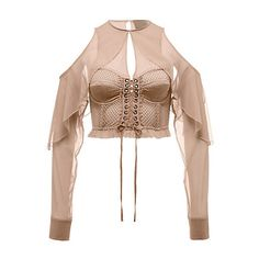 Mesh Bustier Top with Sleeves (1.050 RON) ❤ liked on Polyvore featuring tops, crop top, shirts, blouses, white ruffle shirt, ruffle crop top, sexy long sleeve tops and bustier crop tops
