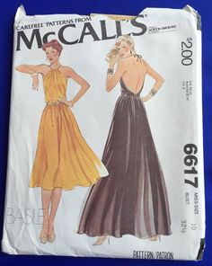 Backless Halter Dress Sewing Pattern Uncut McCalls 6617 Womens Size 10 VTG 1979  #McCalls #Backless