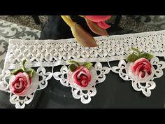 Brazilian Crochet And Handicraft Crochet Lace Edging, Crochet Flower Tutorial, Crochet Borders, Crochet Flower Patterns, Crochet Designs, Crochet Flowers, Crochet Stitches, Embroidery Patterns, Mode Glamour