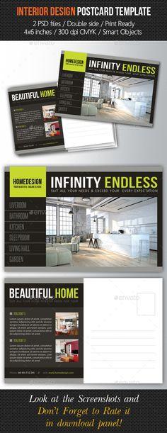 Interior Design Postcard Template V03 Postcard template Print