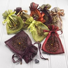 Embroidered drawstring tissue bags