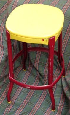 Vintage METAL STOOL CHAIR Yellow & Maroon by JunqueInTheTrunque, $40.00. I did this to my own stools! Maybe I should sell 'em for $40 ea too? :)