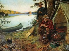 Philip R Goodwin Fishermen at Camp Gold Framed Giclee Canvas Art M 26x19 | eBay