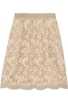 Valentino|Cotton-blend broderie anglaise and linen skirt|NET-A-PORTER.COM - StyleSays