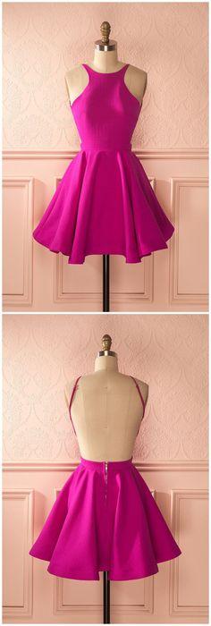 A-line Backless Jewel Pleated Fuchsia Short Homecoming Cocktail Dress