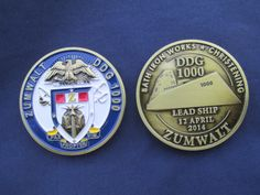 USS Zumwalt commemorative coin for the new class of Destroyer christened today 04-12-14