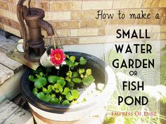 Would you like a little water feature in your garden? Adding a small pond is one of the best things I ever did for my garden. With the addition of fresh flowing water it immediately became the central. Outdoor Ponds, Outdoor Gardens, Outdoor Spaces, Outdoor Living, Backyard Projects, Outdoor Projects, Seed Tape, Small Water Gardens, Recycled Garden Art