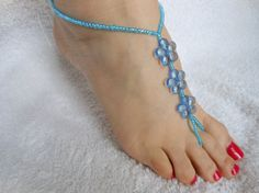 Barefoot Sandals Beach Wedding Yoga Shoes Foot Jewelry Beads Flowers Blue