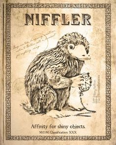 "Niffler Fantastic Beast Book Page Digital Painting Print ""Affinity for shiny objects. Mundo Harry Potter, Harry Potter Universal, Harry Potter Movies, Fantastic Beasts Book, Fantastic Beasts And Where, The Beast, Hogwarts, Mythological Creatures, Magical Creatures"