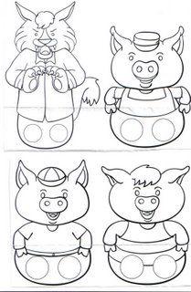 Vingerpoppetjes / fingerpuppets / Moldes de fantoches de dedo para trabalhar a história dos três porquinhos