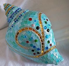 Conch shell mosaic garden ornament ~ etsy ~ glass magic studios