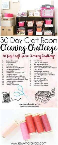 Craft Room Cleaning Challenge Prompts 30 Day Craft Room Cleaning Challenge Prompts: Get your craft room organized in 30 days with these small and easy steps. Click through for the full list of actionable items! Ribbon Organization, Sewing Room Organization, Craft Room Storage, Craft Room Organizing, Paper Storage, Organizing Tips, Organising, Organized Craft Rooms, Organize Room