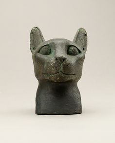 Head of a cat, 664–30 B.C. Late Period–Ptolemaic Period. Egypt. The Metropolitan Museum of Art, New York. Gift of Helen Miller Gould, 1910 (10.130.1333) #cats