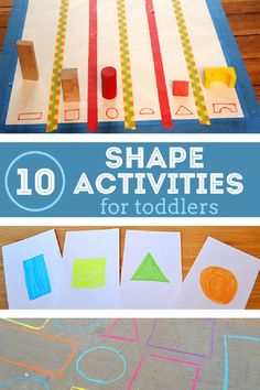 These 12 hands on shape activities for toddlers year olds) will make it hip to be square! Toddlers will have fun learning shapes in a hands on way. Physical Activities For Toddlers, Toddler Learning Activities, Fun Learning, Preschool Activities, Shape Activities, Preschool Shapes, Counting Activities, Learning Spanish, Math Games