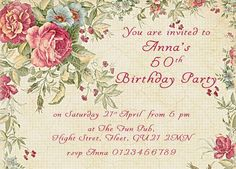 Personalised Birthday Invitations  Party Invites, vintage, tea party, girls