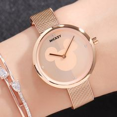 Disney Wrist Watch Luxury Women Stainless Steel Band Women Dress Watches Quartz Watch Relogio Feminino New Mickey Clock MK Women's Watches from Watches on Simple Watches, Trendy Watches, Cute Watches, Best Watches For Men, Women's Watches, Watches Online, Cheap Watches, Wrist Watches, Mickey Watch