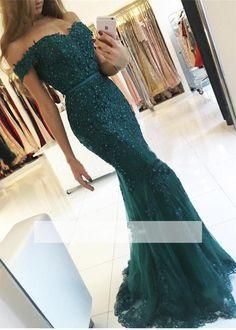 Verde esmeralda Lace Applique Frisado Sparkly Sereia Vestidos de Baile 2017 Vestido Pedrarias Fora Do Ombro Vestidos de Festa Formal