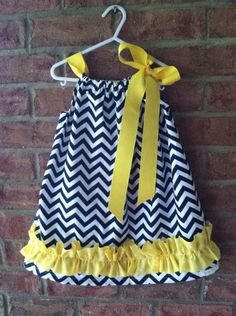 Navy and White Chevron with Yellow Ruffle Pillow Case Dress on Etsy, $27.00