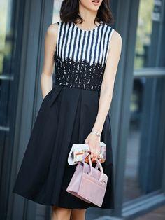 Shop Midi Dresses - Black Stripes Casual Skater Midi Dress online. Discover unique designers fashion at StyleWe.com.