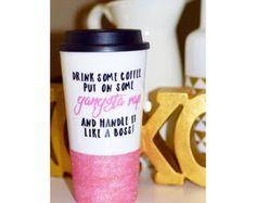 Jesus Coffee Hustle Repeat Glitter Travel by TwinkleTwinkleLilJar