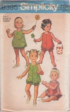 CUTE Toddlers Sun Suit Pinafore Pattern SIMPLICITY 9395 Button Shoulder Bubblesuit Heart Pockets Size 3 Childrens Vintage Sewing Pattern UNCUT-Authentic vintage sewing patterns: This is a fabulous original dress making pattern, not a copy. Childrens Sewing Patterns, Simplicity Sewing Patterns, Baby Patterns, Vintage Sewing Patterns, Doll Patterns, Pinafore Pattern, Retro Lingerie, Dress Making Patterns, Cute Toddlers