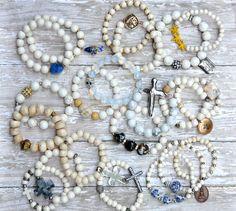 Summer Whites / Unique Designer Beaded Bracelets by BeadRustic, $35.00