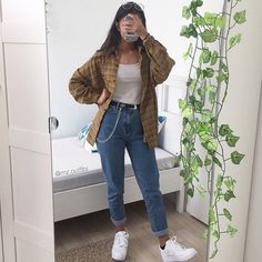 Plaid shirt, White vest top, Mom jeans and White trainers. Plaid shirt, White vest top, Mom jeans and White trainers. Mode Outfits, Retro Outfits, Girl Outfits, Casual Outfits, Soft Grunge Outfits, Vintage Hipster Outfits, Indie Hipster, 90s Grunge, Grunge Style