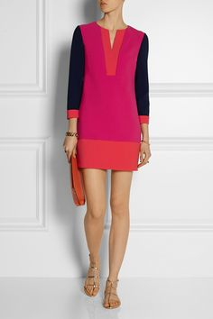 Diane von Furstenberg | Millie color-block stretch-crepe mini dress | NET-A-PORTER.COM