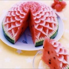 beautiful   watermelon carving...Thanks to my father for my slight obsession with watermelon carving.