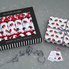 Luxury Robins Pack by Nancy & Betty Studio, the perfect gift for Explore more unique gifts in our curated marketplace. Christmas Crackers, White Christmas, Creative Business, Red And White, Wraps, Packing, Gift Wrapping, Luxury, Paper