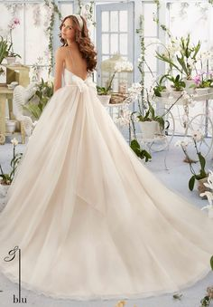 Wedding Gown 5408 Asymmetrically Draped Bodice with Shoestring Straps onto the Tulle Ball Gown