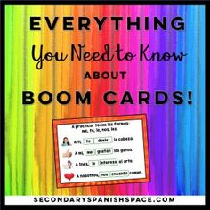 Get free Spanish Boom Cards and learn everything how to create a Boom teacher account, set up a Boom classroom, and send Boom Card decks to your students. Free Spanish Lessons, Spanish Lesson Plans, French Lessons, Teaching French, Teaching Spanish, Spanish Activities, Vocabulary Activities, Middle School Spanish, German Language Learning