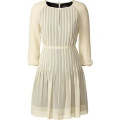 Orla Kiely Silk Georgette Raglan Tunic (€245) ❤ liked on Polyvore featuring dresses, tops, vestidos, short dresses, short sleeve dress, raglan sleeve dress, brown pleated dress, semi sheer dress and orla kiely