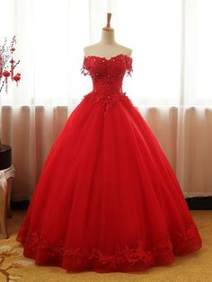 af5924a0398 Chic Red Ball Gown Prom Dress A-line Quinceanera Tulle Prom Dress Evening  Dress AM764