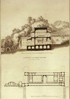 Schinkel - Tuscan Villa (tuscos meos - Pliny's term) perspective - imagined by Schinkel based on the description of Pliny of an ancient villa near the source of the river Tiber in the Mountains of Tuscany