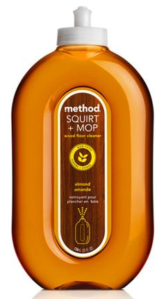 method floor cleaner for wood or laminate  I used this cleaner on Monday on my very high traffic, two dogs and two kids laminate flooring and two days later my floor are STILL clean. I'm shocked. No paw prints, no streaks, no smudges, no slippery spots! And it smells amazing, like almond extract. I'll never use another cleaner on my floor again!