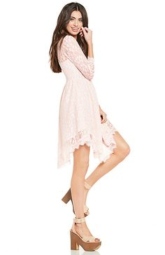 DAILYLOOK Eyelash Lace Fit and Flare Dress  | DAILYLOOK