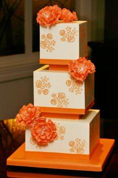 tartas de boda - wedding cake - Orange floral wedding cake by Confectionery Designs Pretty Wedding Cakes, Square Wedding Cakes, Amazing Wedding Cakes, Elegant Wedding Cakes, Unique Cake Toppers, Wedding Cake Toppers, Cupcakes, Cupcake Cakes, Orange Wedding Colors
