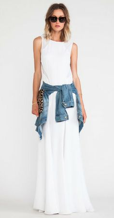Summer attire: white maxi, jean jacket and animal print accessory