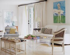 Surfer girl painting in Aerin Lauder's East Hamptons house