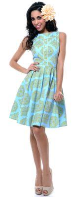 Folter Blue & Green Elizabeth Swing Dress