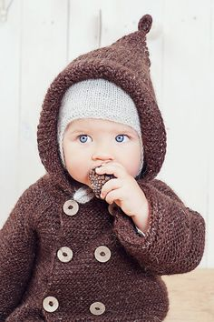 Brown hooded baby coat / Hand knitted brown wool by GeraBloga