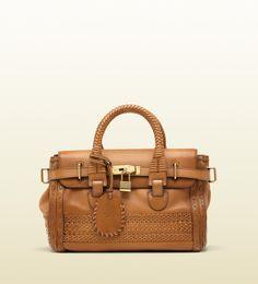 'handmade' medium top handle bag with woven web det ...