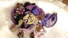 collier mousseline de soie peinte ,agates,pierres : Collier par iletaitunesoie