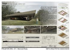 Concurso de Arquitetura | Memorial Reidy Memorial Architecture, Indian Architecture, Sustainable Architecture, Architecture Design, Concept Board Architecture, Architecture Presentation Board, Presentation Layout, Interior Design Layout, Layout Design
