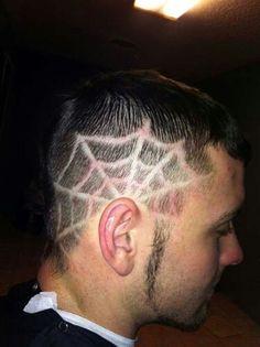 Spider web hair tattoo