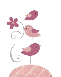 Bird Nursery Pink Gray Baby Decor Children by PeanutAndButtons, $14.00