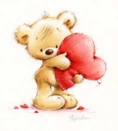 Details and photos showing you how I made this heart tree and teddy cake for Valentine's Day Cute Images, Cute Pictures, Teddy Bear Drawing, Teddy Bear Cartoon, Art D'ours, Art Mignon, Love Bear, Cute Teddy Bears, Tatty Teddy