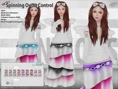 New Release! Spinning Outta Control - 245L http://maps.secondlife.com/secondlife/Sim%20Style/117/172/24  Features tshirt, tango appliers, mesh arm warmers, mesh skirt, both in multiple sizes, 9 option texture hud with 2 belt options, wings, and mesh goggles(unrigged). Located in the New Releases @ the link above.  Market:: https://marketplace.secondlife.com/p/Envious-Spinning-Outta-Control/5486434
