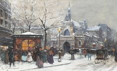 "Eugene Galien Laloue ""L'Eglise Saint-Laurent, Paris"""